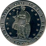 UK ECU Britannia 1992 UNC HONI SOIT QUI MAL Y PENSE 1992 coin reverse