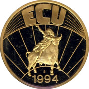 UK ECU Great Britain 1994 UNC ECU 1994 coin reverse