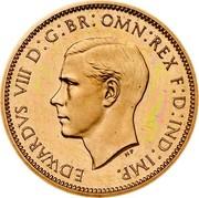 UK Farthing Edward VIII 1937 KM# Pn122 EDWARDVS VIII D G BR OMN REX F D IND IMP HP coin obverse