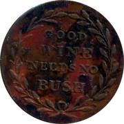 UK Farthing Tea Warehouse 1821 GOOD WINE NEEDS NO BUSH coin reverse