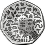 UK Fifty Pence (50 years of the World Wildlife Fund. Piedfort) WWF 2011 MD coin reverse