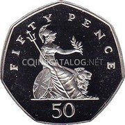 UK Fifty Pence (Small type (Piedfort)) FIFTY PENCE 50 coin reverse