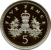 UK Five Pence (Crowned Thistle) KM# 988d FIVE PENCE coin reverse