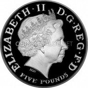 UK Five Pounds (Prince Charles 60th Birthday (Piedfort)) KM# P113 ELIZABETH∙II D∙G REG∙F∙D FIVE POUNDS IRB coin obverse