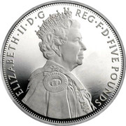 UK Five Pounds Queen's Diamond Jubilee (Piedfort) 2012 Proof 2012 DIR IGE DEVS GRESSVS MEOS IRB coin reverse