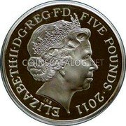 UK Five Pounds (Royal Wedding. Piedfort) ELIZABETH II D G REG F D FIVE POUNDS 2011 IRB coin obverse
