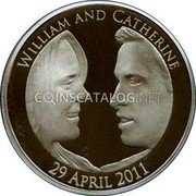 UK Five Pounds (Royal Wedding. Piedfort) WILLIAM AND CATHERINE 29 APRIL 2011 coin reverse