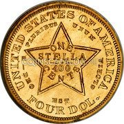 USA Four Dol. (1880 Stella Pattern) UNITED STATES OF AMERICA E PLURIBUS UNUM ONE STELLA 400 CENTS -DEO EST GLORIA FOUR DOL. coin reverse