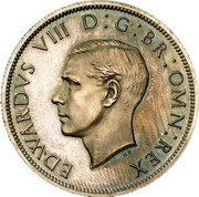 UK Half-Crown Half Crown 1937 Proof KM# Pn130 EDWARDVS VIII D G BR OMN REX coin obverse
