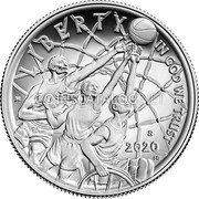 USA Half Dollar (Basketball Hall of Fame Colored) LIBERTY IN GOD WE TRUST JK D 2020 MG coin reverse