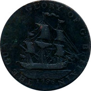 UK Halfpenny 1796 British Token Coins THE GUARD & GLORY OF GT BRITAIN 1796 coin obverse