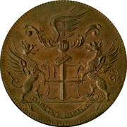 UK Halfpenny Blackfriars London Monk & City Arms Halfpenny ND DOMINE DIRIGE NOS coin obverse