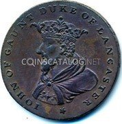Ireland Halfpenny Token Coinage IOHN OF GAUNT DUKE OF LANCASTER coin reverse
