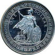 UK One Dollar 50th anniversary of Indian Independence 1997 UNC ONE DOLLAR 1997 coin obverse