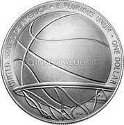 USA One Dollar (Basketball Hall of Fame) UNITED STATES OF AMERICA E PLURIBUS UNUM ONE DOLLAR coin obverse