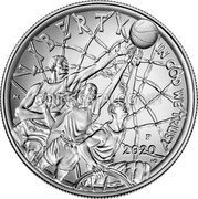 USA One Dollar (Basketball Hall of Fame) LIBERTY IN GOD WE TRUST 2020 coin reverse