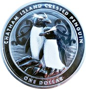 New Zealand One Dollar Chatham Island Crested Penguin 2020 Bullion CHATHAM ISLAND CRESTED PENGUIN ONE DOLLAR coin reverse