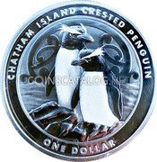 New Zealand One Dollar (Chatham Island Crested Penguin) CHATHAM ISLAND CRESTED PENGUIN ONE DOLLAR coin reverse