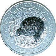 New Zealand One Dollar (Great Spotted Kiwi) ONE DOLLAR GREAT SPOTTED KIWI APTERYX HAASTII coin reverse