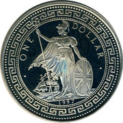 UK One Dollar Hong Kong Returns to China Colored 1997 UNC ONE DOLLAR 1997 coin obverse