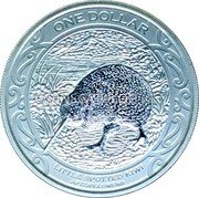 New Zealand One Dollar (Little Spotted Kiwi) ONE DOLLAR LITTLE SPOTTED KIWI APTERYX OWENII coin reverse