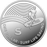 Australia One Dollar The Great Aussie Coin Hunt - S 2019 ONE DOLLAR S SURF LIFE SAVING coin reverse