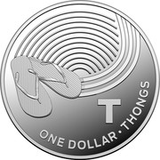 Australia One Dollar The Great Aussie Coin Hunt - T 2019 ONE DOLLAR T THONGS coin reverse