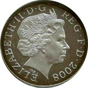 UK One Penny Royal Shield 2008 ELIZABETH II D G REG F D 2008 coin obverse