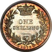 UK One Shilling (Victoria) KM# 734 ONE SHILLING 115 1873 coin reverse