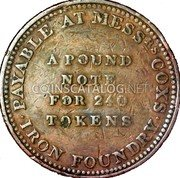 UK Penny (Taunton - Cox's Iron Foundry) PAYABLE AT MESS RS COX'S IRON FOUNDRY A POUND NOTE FOR 240 TOKENS coin reverse