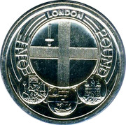 UK Pound Badge of London (Piedfort) 2010 British Royal Mint Proof KM# P75 ONE POUND LONDON coin reverse