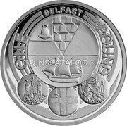 UK Pound Belfast (Piedfort) 2010 British Royal Mint Proof KM# P76 ELIZABETH∙II∙D∙G REG∙F∙D∙2010 IRB coin obverse