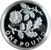UK Pound (Rose and Oak. Piedfort) ONE POUND coin reverse