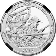 USA Quarter Dollar George Rogers Clark 2017 Proof KM# 666 GEORGE ROGERS CLARK INDIANA 2017 E PLURIBUS UNUM IG coin reverse