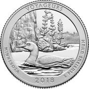 USA Quarter Dollar (Voyageurs National Park Minnesota) VOYAGEURS MINNESOTA 2018 E PLURIBUS UNUM PLM JFM coin reverse