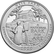 USA Quarter Dollar Weir Farm National Historic Site - Connecticut. 2020 S Proof WEIR FARM A NATIONAL PARK FOR ART CONNECTICUT 2020 E PLURIBUS UNUM coin reverse