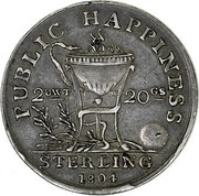 Ireland Shilling Public Happiness 1804  PUBLIC HAPPINESS STERLING 1804 coin reverse