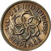 UK Sixpence Edward VIII 1937 Proof KM# Pn127 FID DEF IND IMP 1937 K G SIXPENCE coin reverse