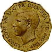 UK Three Pence Edward VIII 1937 KM# Pn126 EDWARDVS VIII D G BR OMN REX F D IND IMP coin obverse