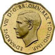 UK Three Pence Edward VIII 1937 KM# Pn125 EDWARDVS VIII D G BR OMN REX F D IND IMP HP coin obverse