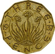 UK Three Pence Edward VIII 1937 KM# Pn126 THREE 19 37 PENCE coin reverse