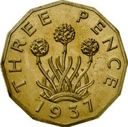 UK Three Pence Edward VIII 1937 KM# Pn125 THREE PENCE 1937 coin reverse
