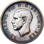 UK Three Pence Edward VIII (Pattern) 1937 Proof EDWARDVS VIII D G BR OMN REX coin obverse