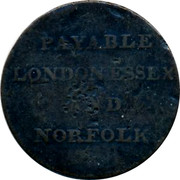 UK Token May peace & plenty ND PAYABLE LONDON ESSEX AND NORFOLK coin reverse