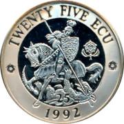UK Twenty Five ECU St George 1992 UNC TWENTY FIVE ECU 25 1992 coin reverse