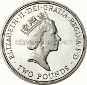 UK Two Pounds (300th Anniversary Bank of England (Piedfort)) ELIZABETH∙II∙DEI∙GRATIA∙REGINA∙F∙D ∙ TWO POUNDS ∙ RDM coin obverse