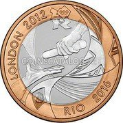 UK Two Pounds (Handover of the Olympic Flag to Rio. Piedfort) LONDON 2012 RIO 2016 coin reverse