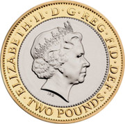 UK Two Pounds The 350th Anniversary of the Guinea. Piedfort 2013 Proof ∙ELIZABETH∙II∙D∙G∙REG∙FID∙DEF∙ TWO POUNDS IRB coin obverse