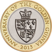 UK Two Pounds The 350th Anniversary of the Guinea. Piedfort 2013 Proof ∙ANNIVERSARY∙OF∙THE∙GOLDEN∙GUINEA∙ 2013 coin reverse