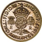 UK Two Shillings Edward VIII 1937 Proof KM# Pn129 FID DEF IND IMP E R K G TWO SHILLINGS 1937 coin reverse